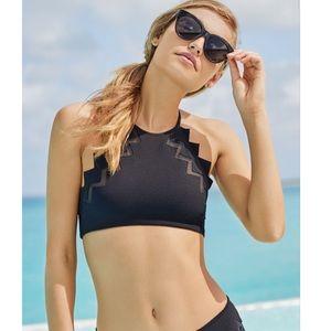 Marysia- Aloha Zig Zag Trim High Neck Bikini Top